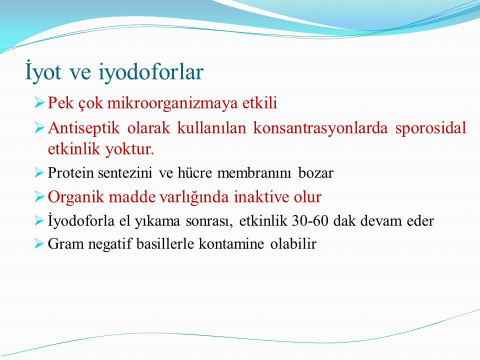 İyot ve iyodoforlar Pek çok mikroorganizmaya etkili