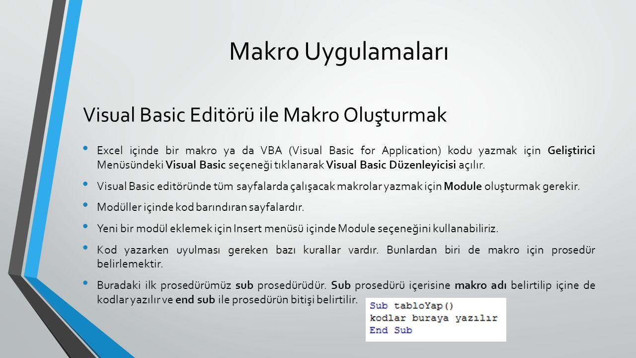 Makro Uygulamaları Visual Basic Editörü ile Makro Oluşturmak