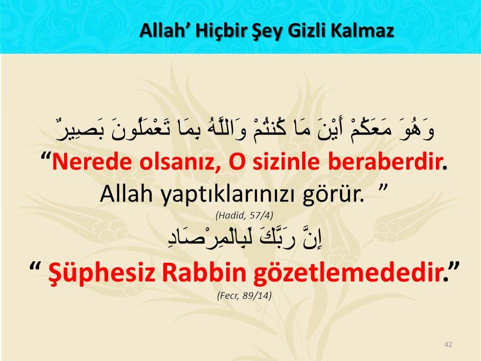 Allah' Hiçbir Şey Gizli Kalmaz Şüphesiz Rabbin gözetlemededir.