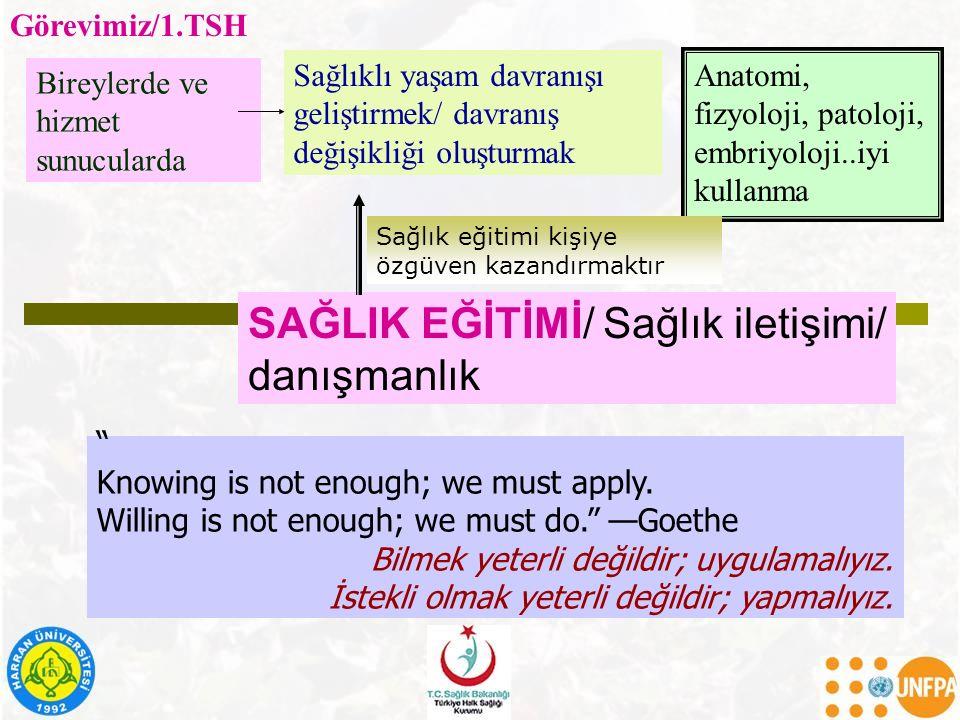 SAĞLIK EĞİTİMİ/ Sağlık iletişimi/ danışmanlık