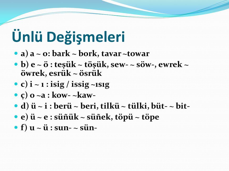 Ünlü Değişmeleri a) a ~ o: bark ~ bork, tavar ~towar