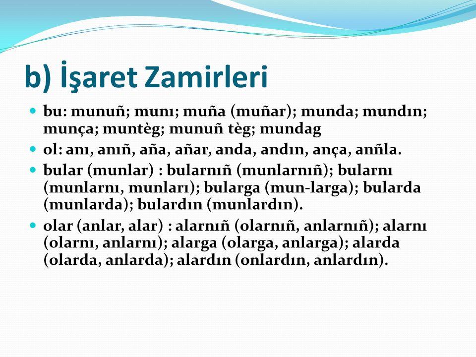 b) İşaret Zamirleri bu: munuñ; munı; muña (muñar); munda; mundın; munça; muntèg; munuñ tèg; mundag.