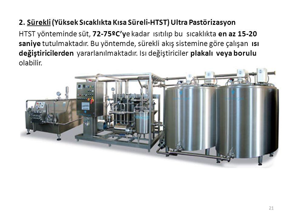 2. Sürekli (Yüksek Sıcaklıkta Kısa Süreli-HTST) Ultra Pastörizasyon
