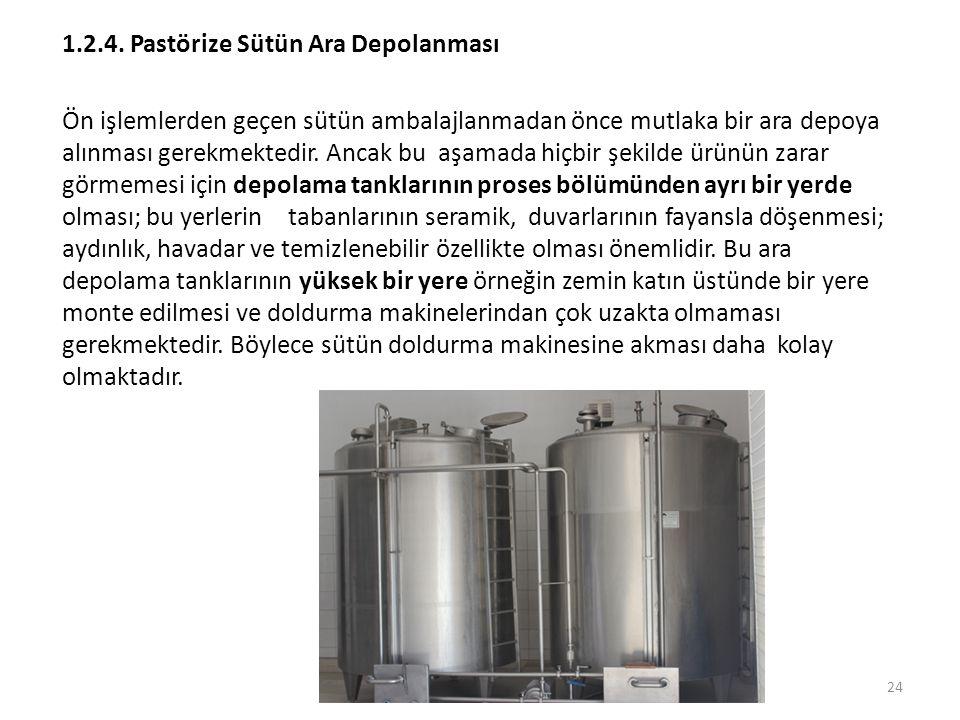 1.2.4. Pastörize Sütün Ara Depolanması