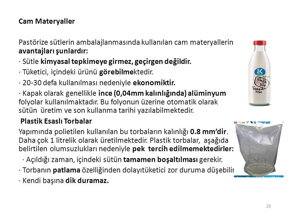 Cam Materyaller Pastörize sütlerin ambalajlanmasında kullanılan cam materyallerin avantajları şunlardır: