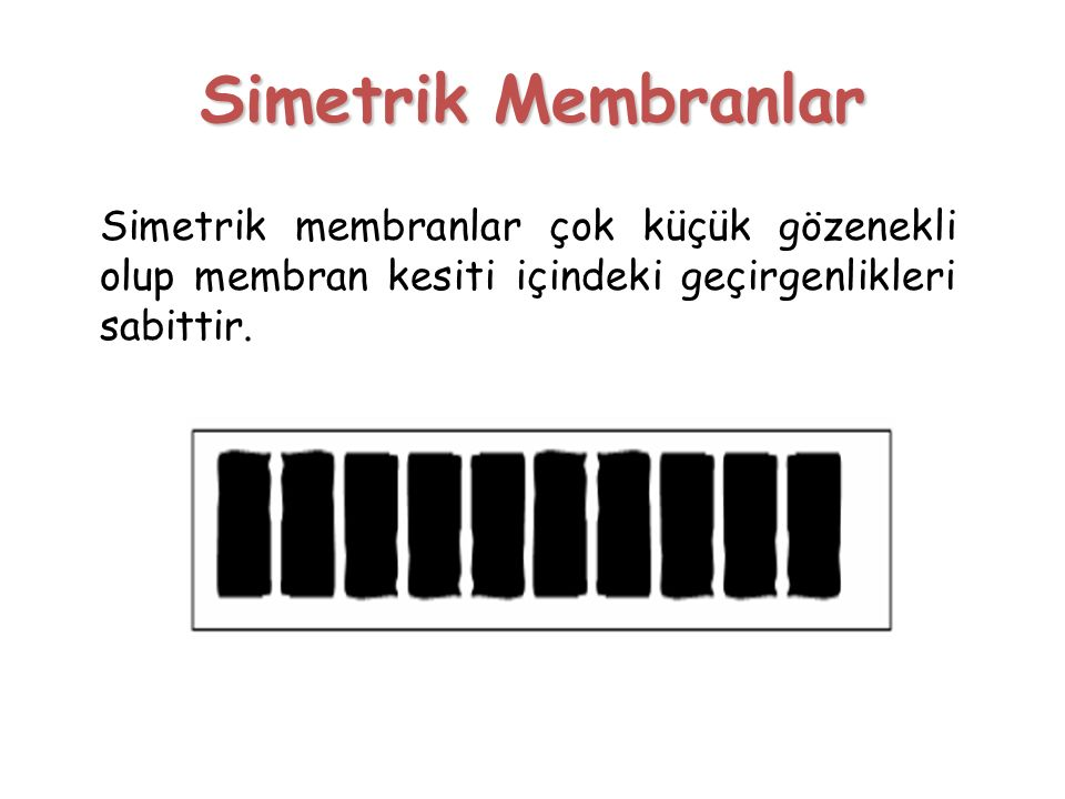 Simetrik Membranlar Simetrik membranlar çok küçük gözenekli olup membran kesiti içindeki geçirgenlikleri sabittir.