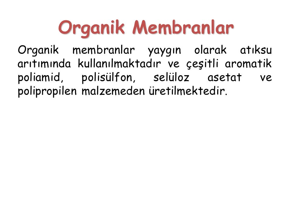 Organik Membranlar