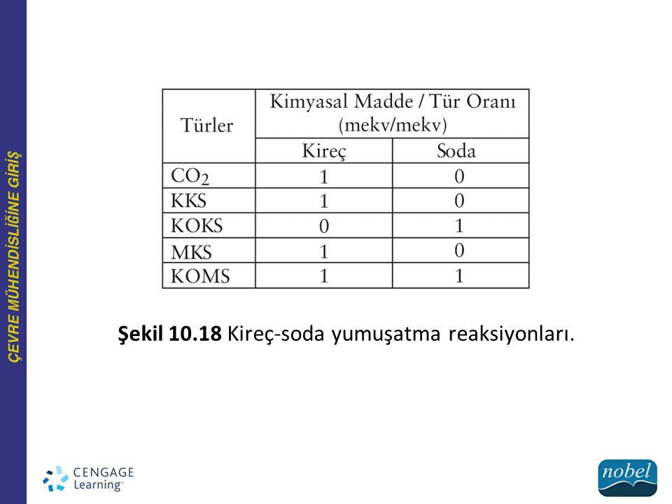 Şekil 10.18 Kireç-soda yumuşatma reaksiyonları.