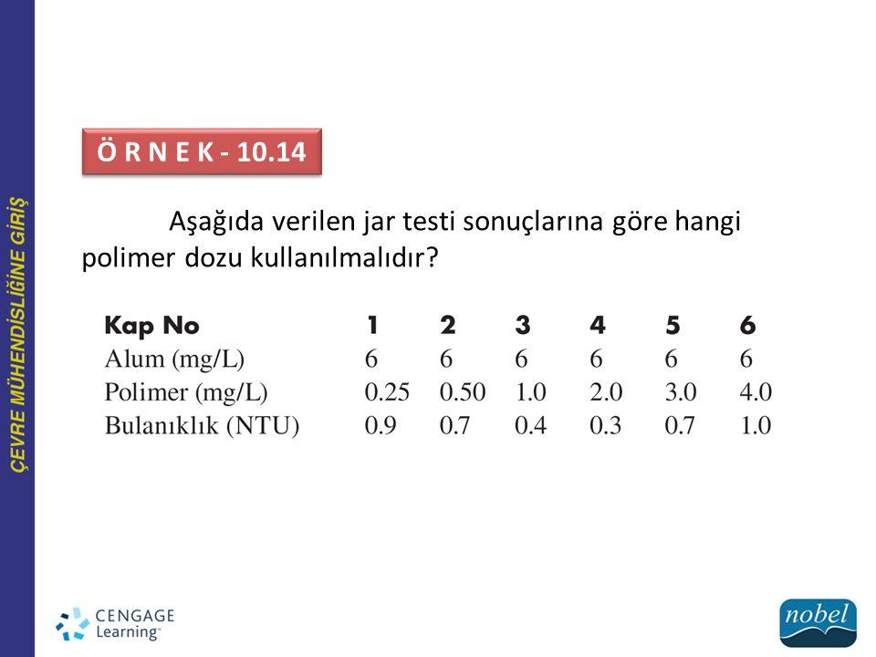 Ö R N E K - 10.14 Aşağıda verilen jar testi sonuçlarına göre hangi polimer dozu kullanılmalıdır