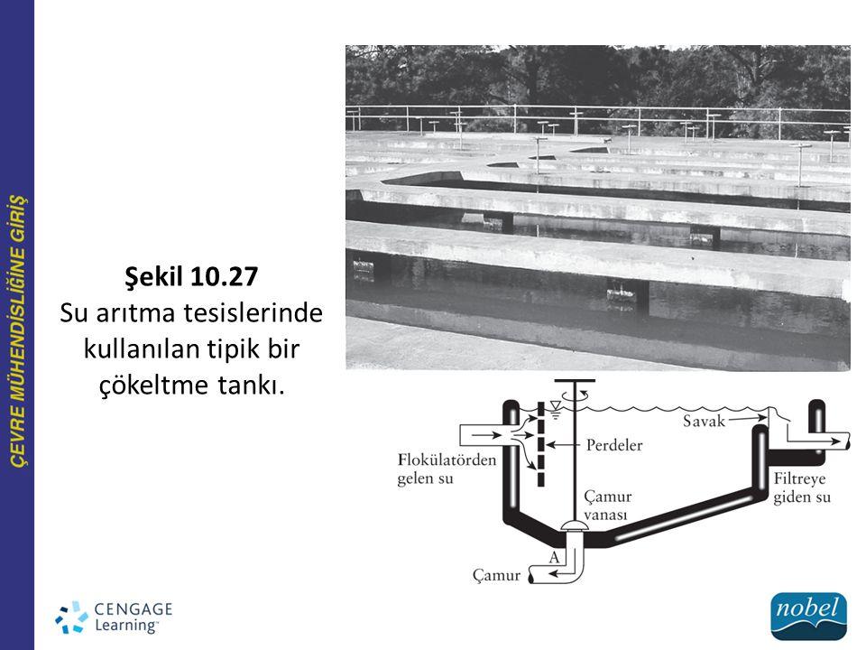 Su arıtma tesislerinde kullanılan tipik bir çökeltme tankı.