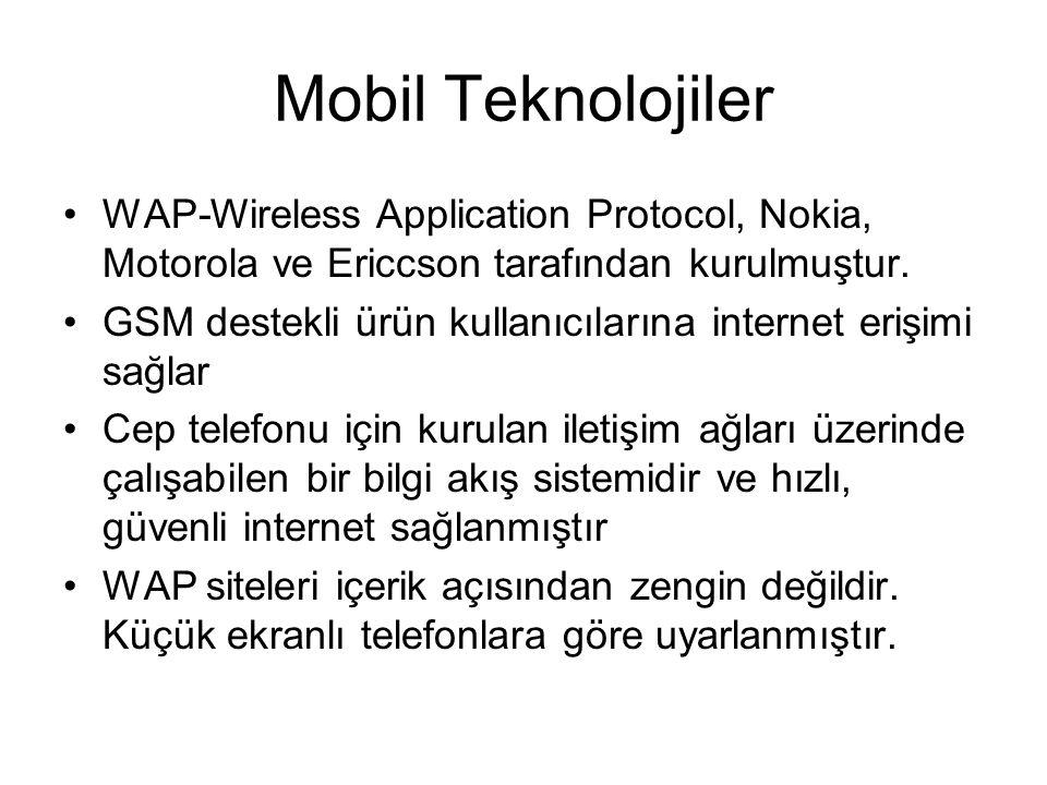 Mobil Teknolojiler WAP-Wireless Application Protocol, Nokia, Motorola ve Ericcson tarafından kurulmuştur.