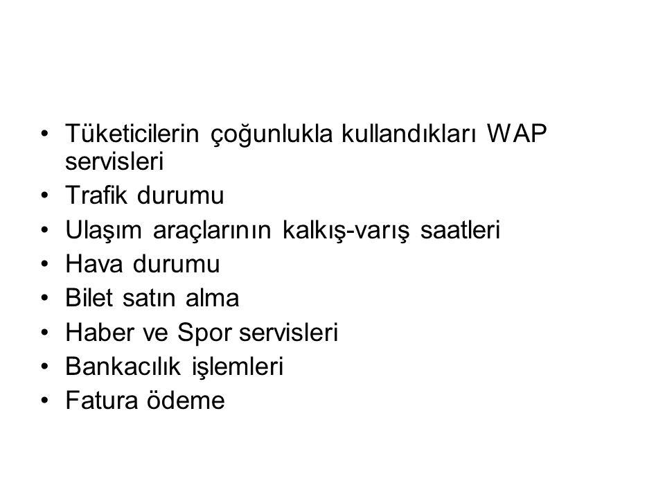 Tüketicilerin çoğunlukla kullandıkları WAP servisleri