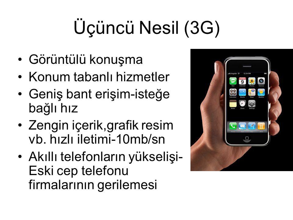 Üçüncü Nesil (3G) Görüntülü konuşma Konum tabanlı hizmetler
