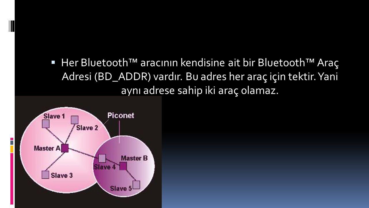 Her Bluetooth™ aracının kendisine ait bir Bluetooth™ Araç Adresi (BD_ADDR) vardır.