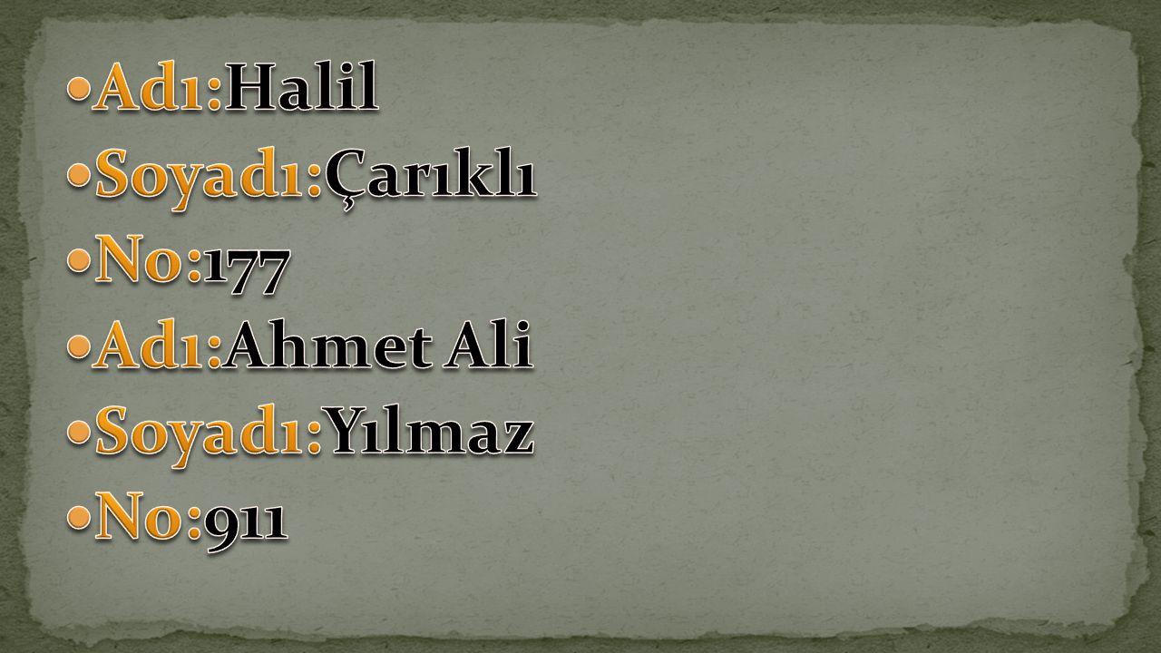 Adı:Halil Soyadı:Çarıklı No:177 Adı:Ahmet Ali Soyadı:Yılmaz No:911
