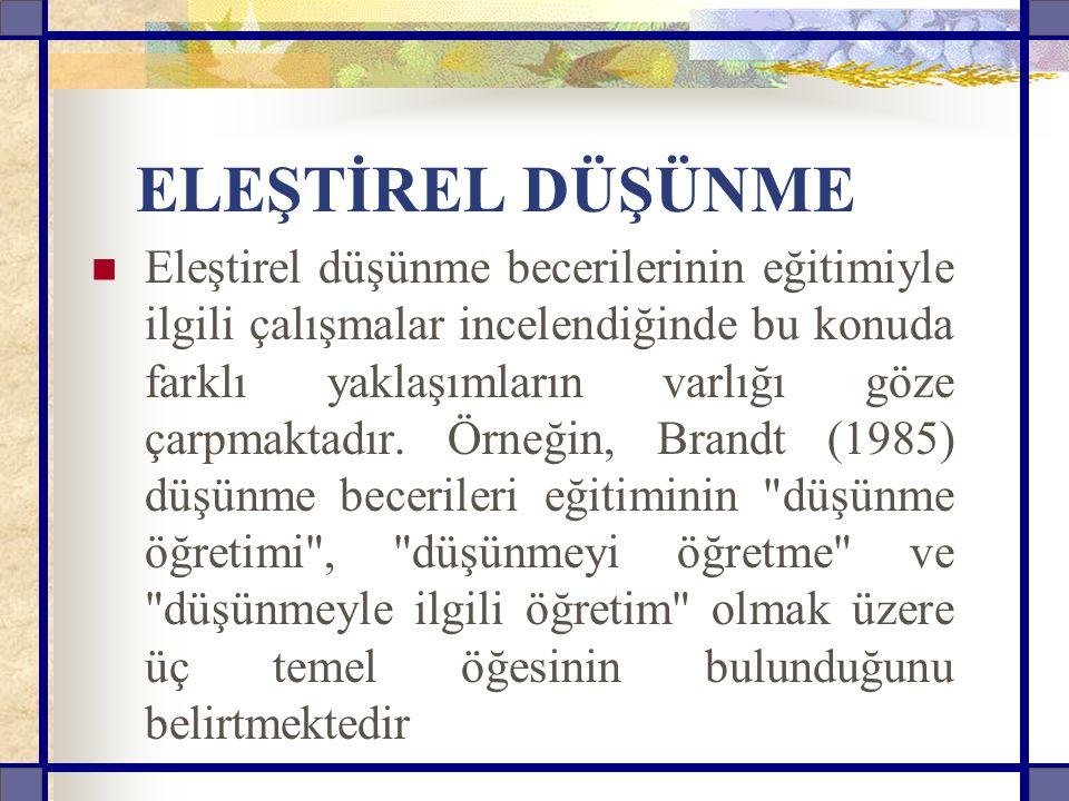 ELEŞTİREL DÜŞÜNME