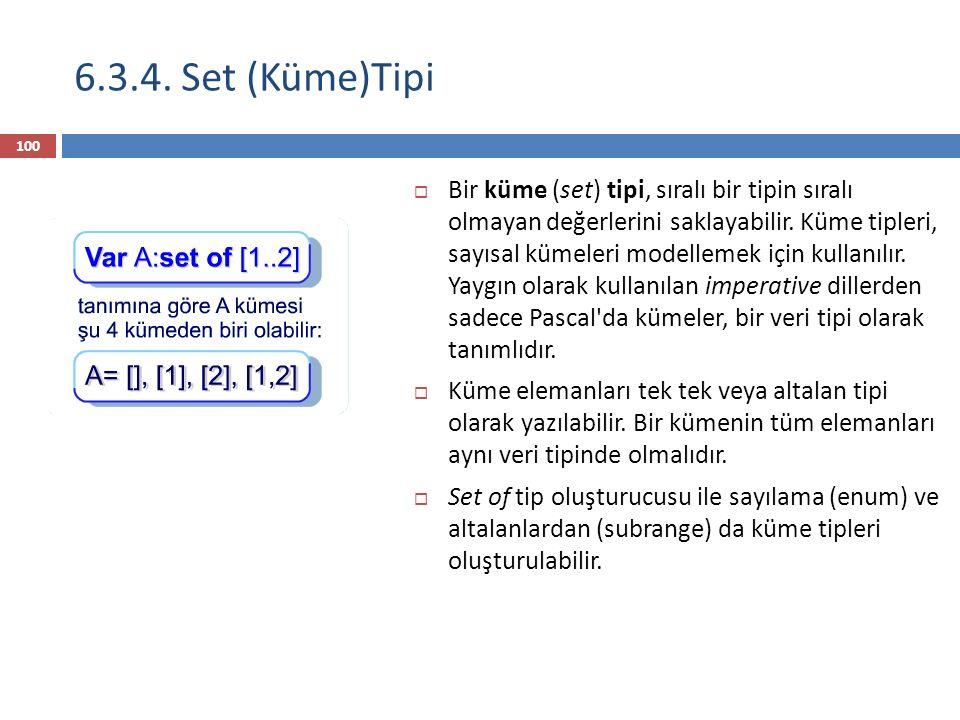 6.3.4. Set (Küme)Tipi
