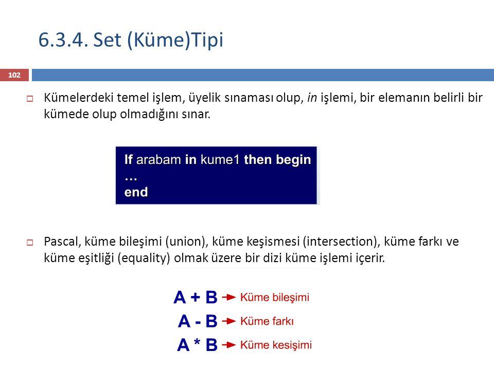 6.3.4. Set (Küme)Tipi Kümelerdeki temel işlem, üyelik sınaması olup, in işlemi, bir elemanın belirli bir kümede olup olmadığını sınar.