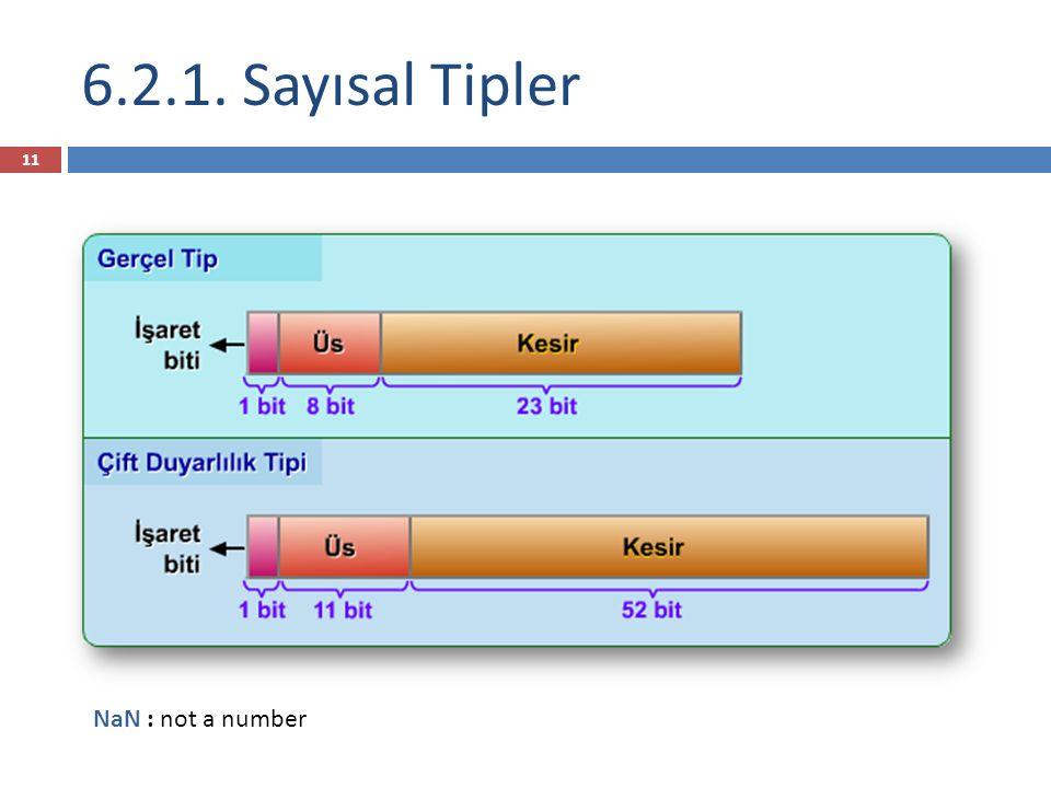 6.2.1. Sayısal Tipler NaN : not a number