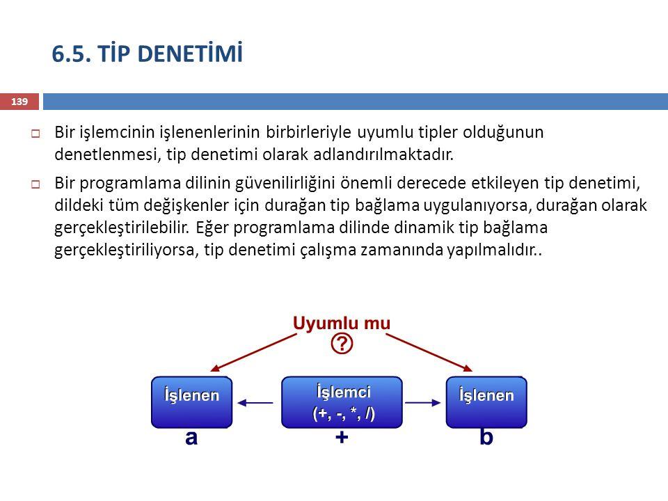 6.5. TİP DENETİMİ Bir işlemcinin işlenenlerinin birbirleriyle uyumlu tipler olduğunun denetlenmesi, tip denetimi olarak adlandırılmaktadır.