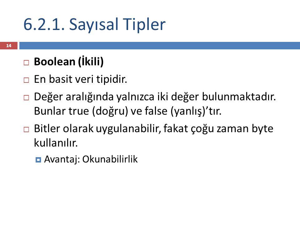 6.2.1. Sayısal Tipler Boolean (İkili) En basit veri tipidir.