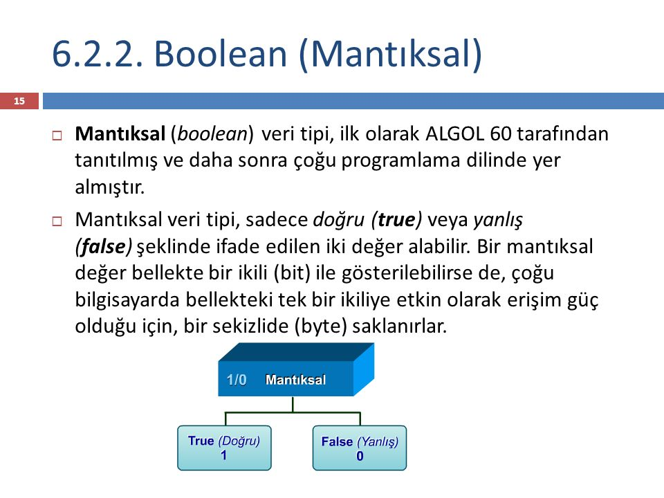 6.2.2. Boolean (Mantıksal)