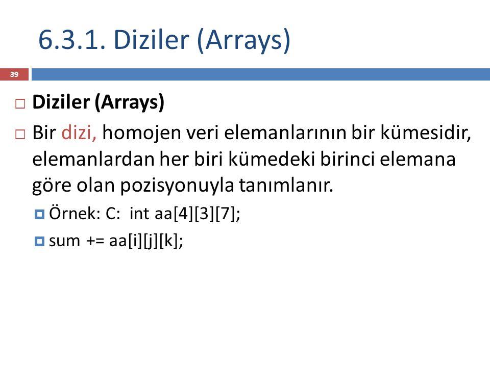 6.3.1. Diziler (Arrays) Diziler (Arrays)