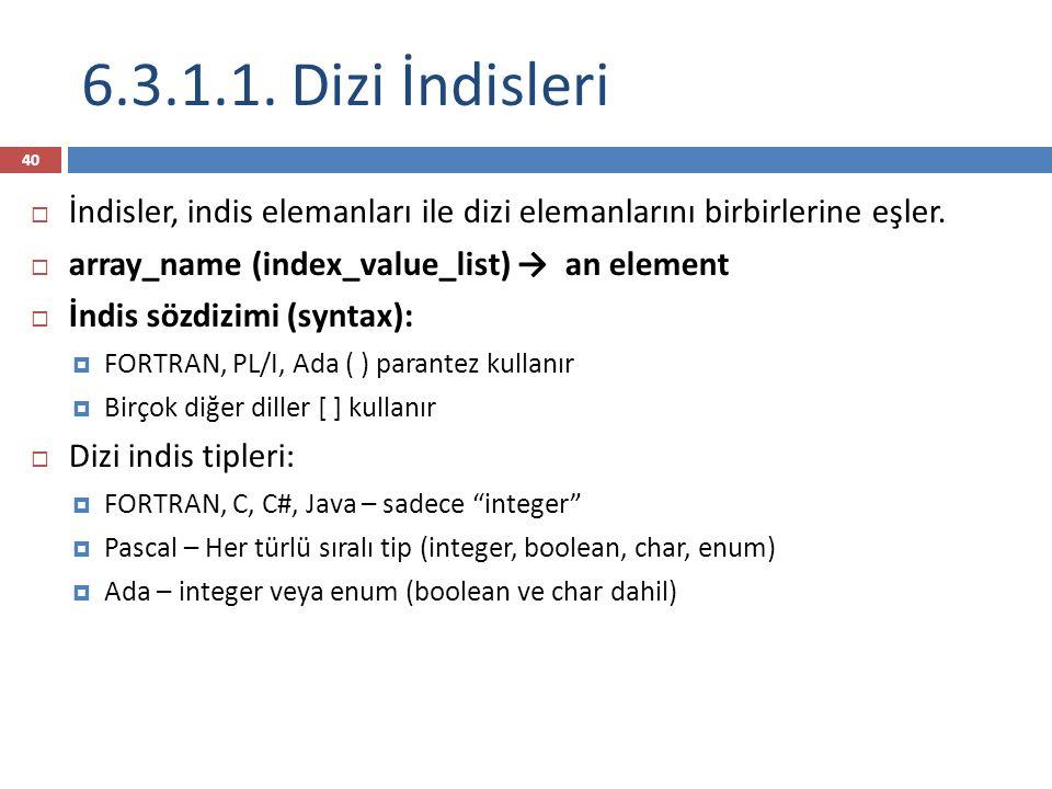 6.3.1.1. Dizi İndisleri İndisler, indis elemanları ile dizi elemanlarını birbirlerine eşler. array_name (index_value_list) → an element.