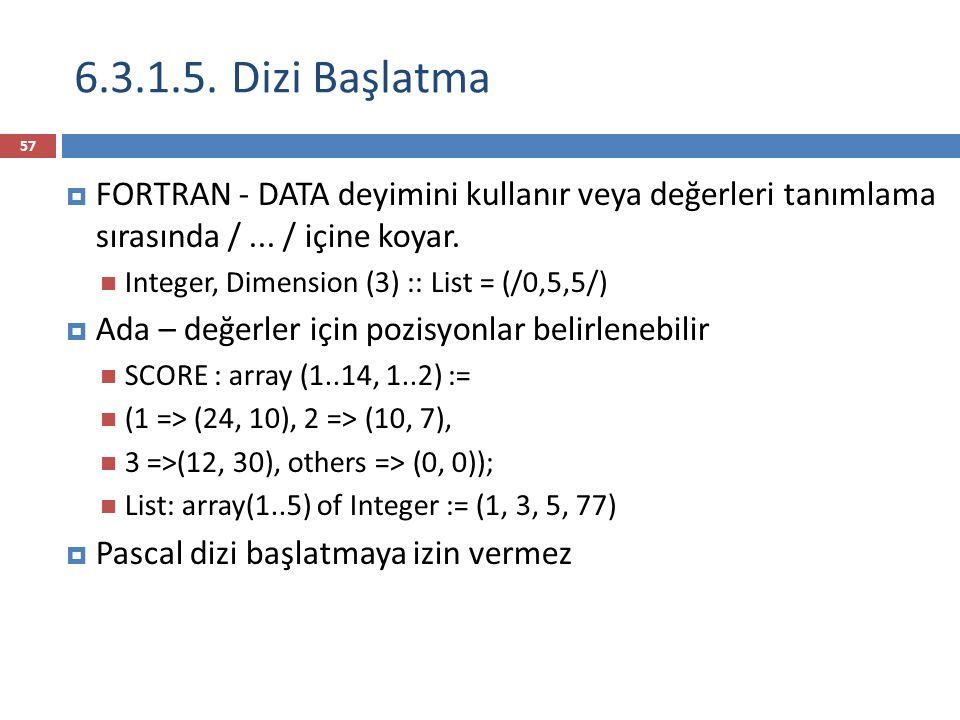 6.3.1.5. Dizi Başlatma FORTRAN - DATA deyimini kullanır veya değerleri tanımlama sırasında / ... / içine koyar.