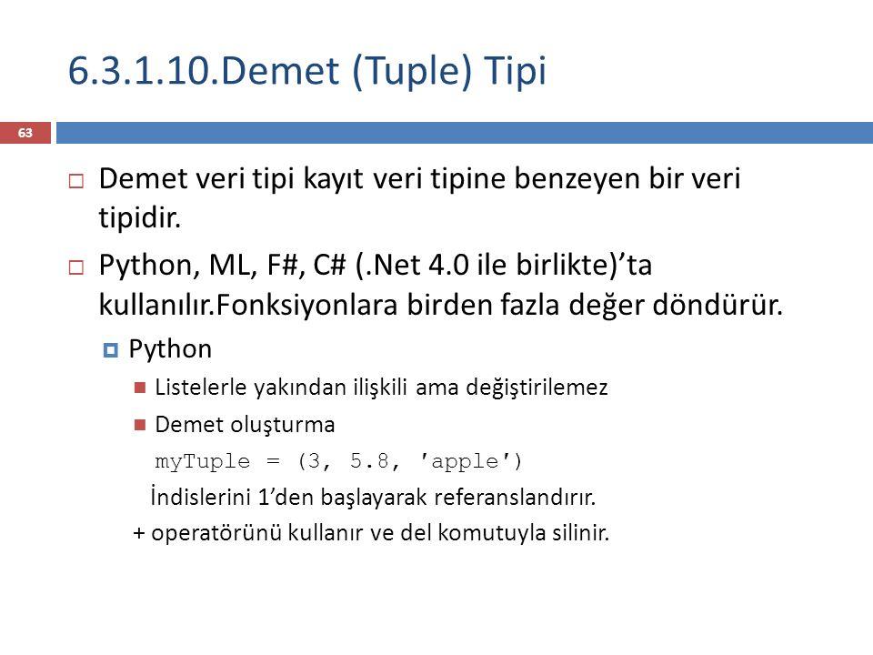 6.3.1.10.Demet (Tuple) Tipi Demet veri tipi kayıt veri tipine benzeyen bir veri tipidir.