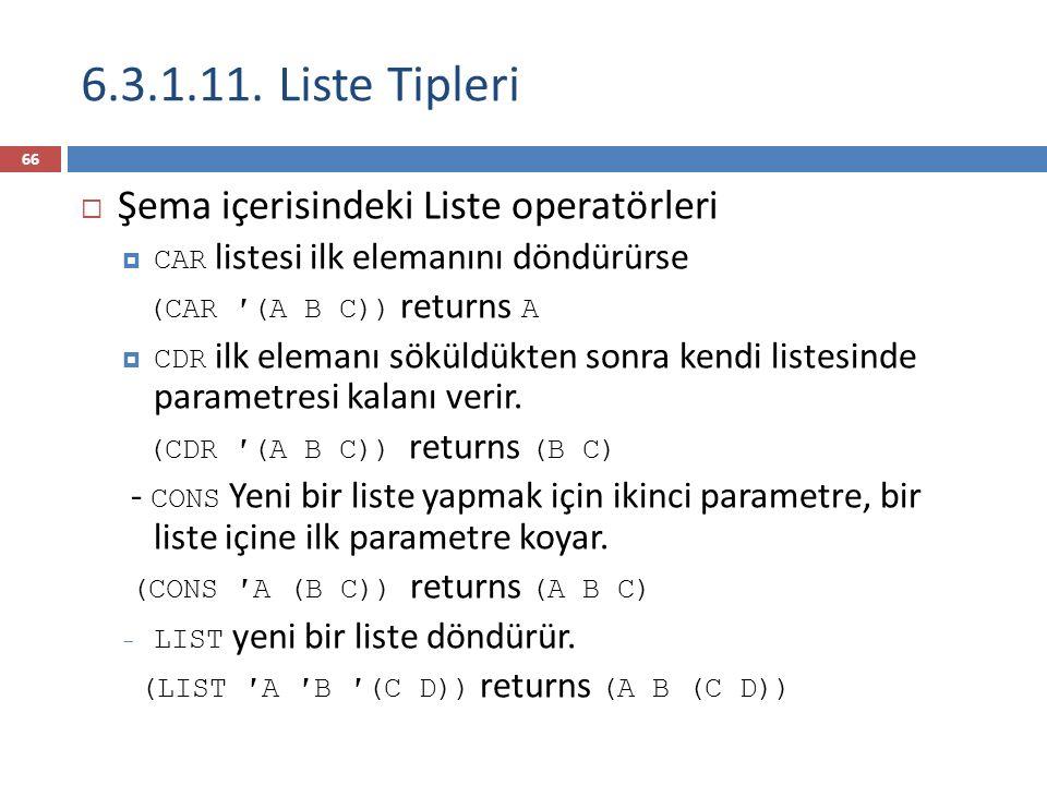 6.3.1.11. Liste Tipleri Şema içerisindeki Liste operatörleri