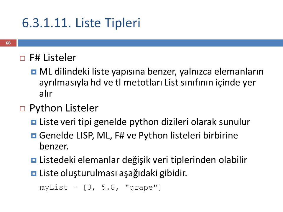 6.3.1.11. Liste Tipleri F# Listeler Python Listeler