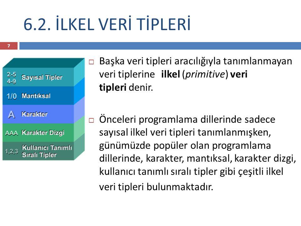 6.2. İLKEL VERİ TİPLERİ Başka veri tipleri aracılığıyla tanımlanmayan veri tiplerine -ilkel (primitive) veri tipleri denir.