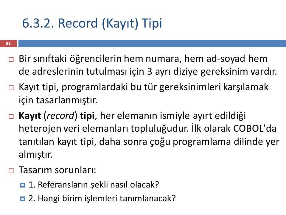 6.3.2. Record (Kayıt) Tipi Bir sınıftaki öğrencilerin hem numara, hem ad-soyad hem de adreslerinin tutulması için 3 ayrı diziye gereksinim vardır.