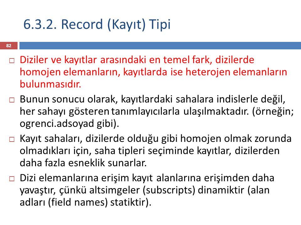 6.3.2. Record (Kayıt) Tipi