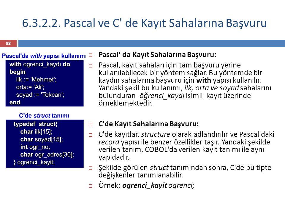6.3.2.2. Pascal ve C de Kayıt Sahalarına Başvuru