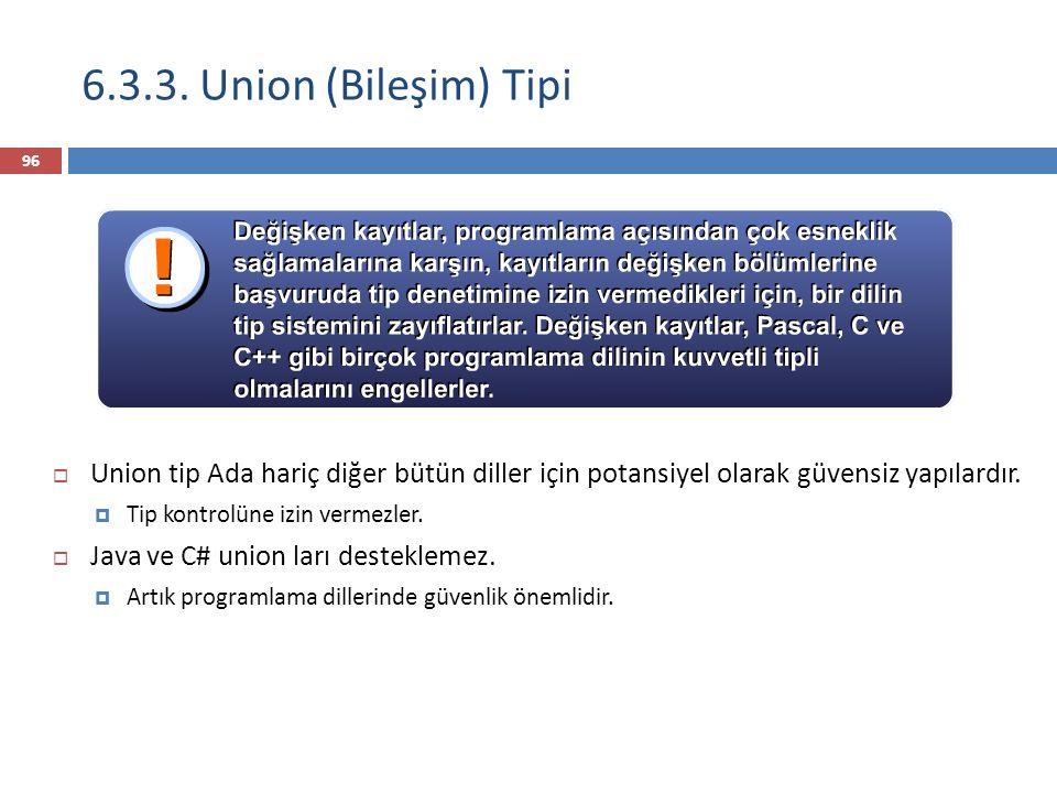 6.3.3. Union (Bileşim) Tipi Union tip Ada hariç diğer bütün diller için potansiyel olarak güvensiz yapılardır.