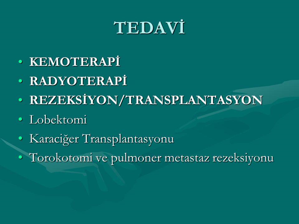 TEDAVİ KEMOTERAPİ RADYOTERAPİ REZEKSİYON/TRANSPLANTASYON Lobektomi