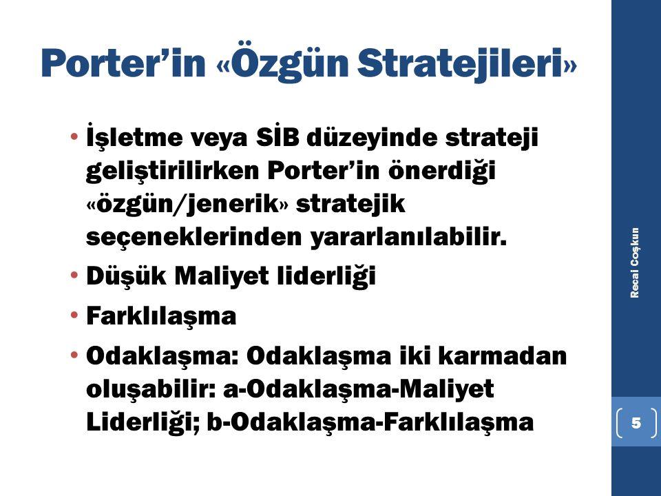Porter'in «Özgün Stratejileri»