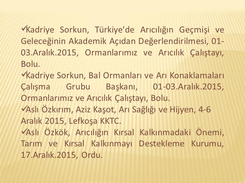 Kadriye Sorkun, Türkiye de Arıcılığın Geçmişi ve Geleceğinin Akademik Açıdan Değerlendirilmesi, 01-03.Aralık.2015, Ormanlarımız ve Arıcılık Çalıştayı, Bolu.