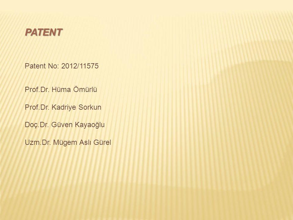 PATENT Patent No: 2012/11575 Prof.Dr. Hüma Ömürlü