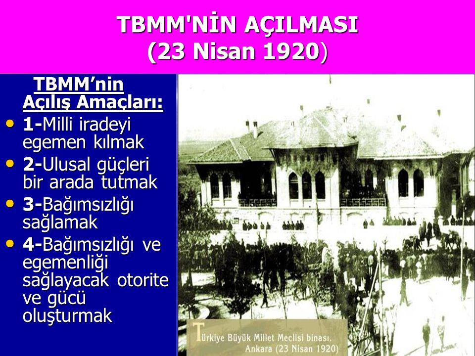 TBMM NİN AÇILMASI (23 Nisan 1920)