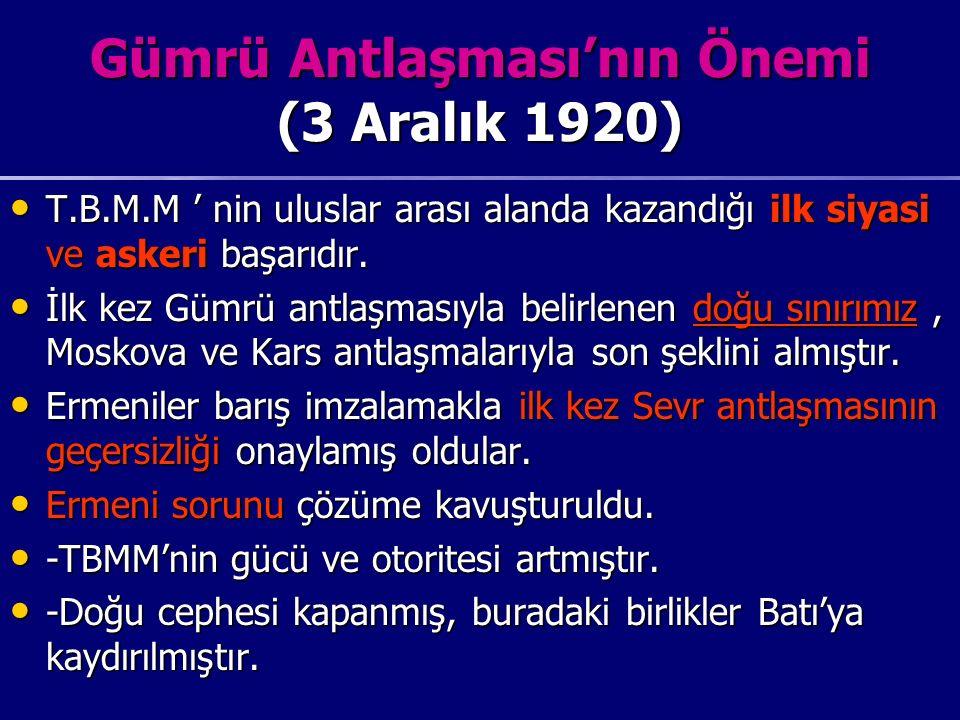 Gümrü Antlaşması'nın Önemi (3 Aralık 1920)
