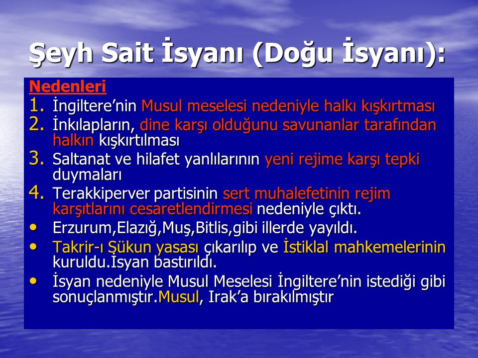 Şeyh Sait İsyanı (Doğu İsyanı):