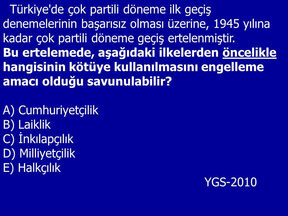 Türkiye de çok partili döneme ilk geçiş denemelerinin başarısız olması üzerine, 1945 yılına kadar çok partili döneme geçiş ertelenmiştir.