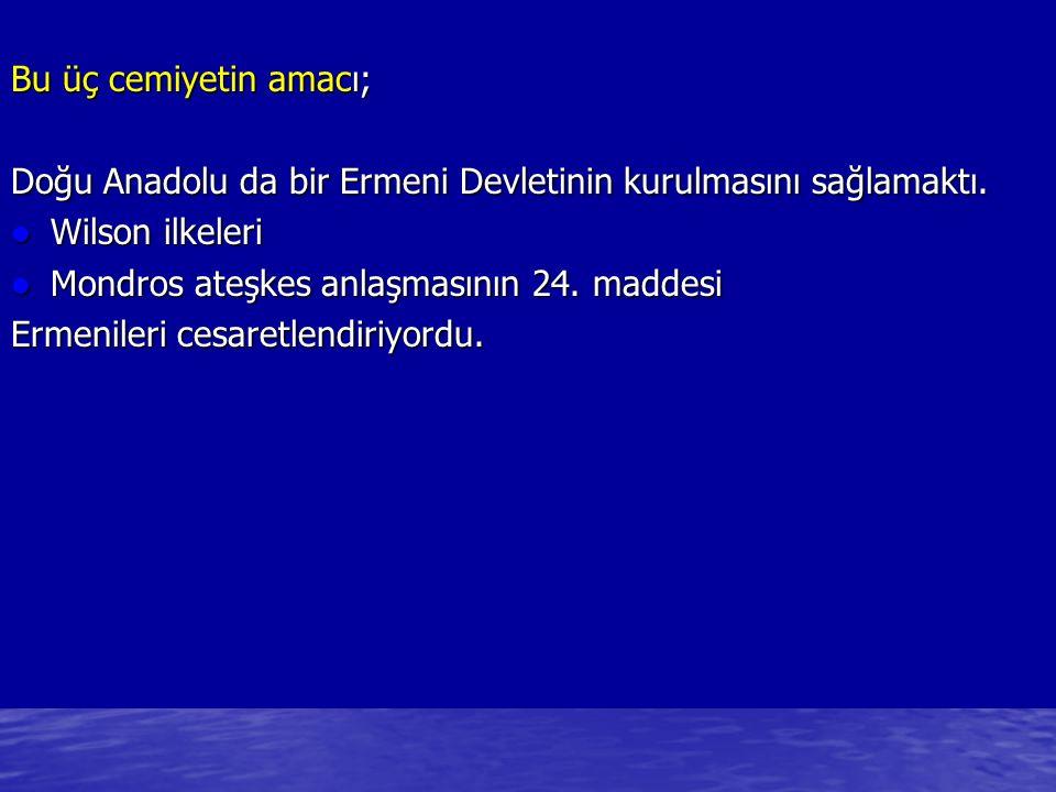 Bu üç cemiyetin amacı; Doğu Anadolu da bir Ermeni Devletinin kurulmasını sağlamaktı. Wilson ilkeleri.