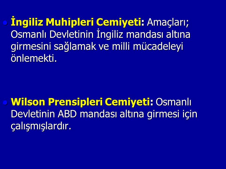 İngiliz Muhipleri Cemiyeti: Amaçları; Osmanlı Devletinin İngiliz mandası altına girmesini sağlamak ve milli mücadeleyi önlemekti.