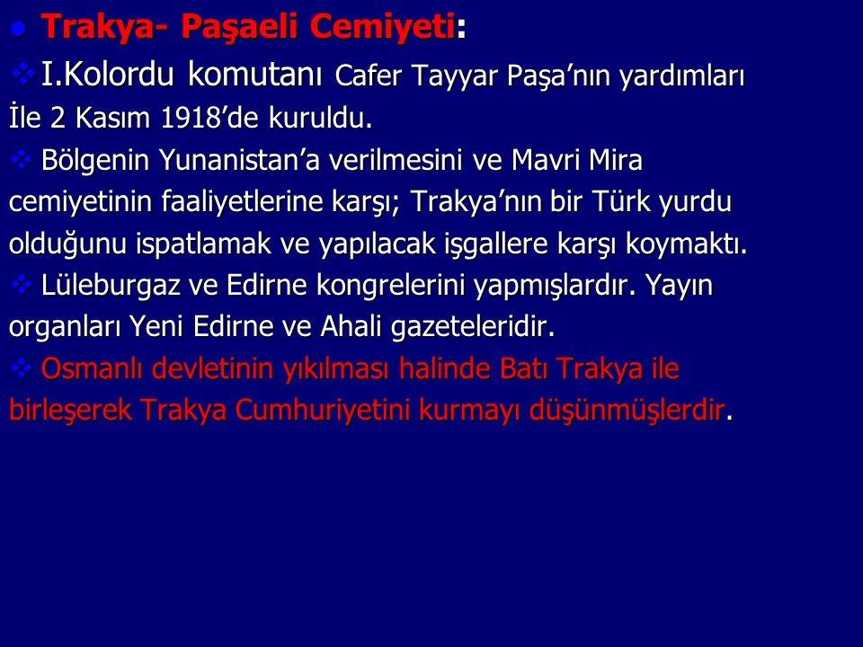 Trakya- Paşaeli Cemiyeti: