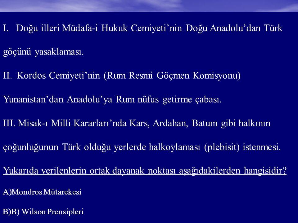 I. Doğu illeri Müdafa-i Hukuk Cemiyeti'nin Doğu Anadolu'dan Türk göçünü yasaklaması.