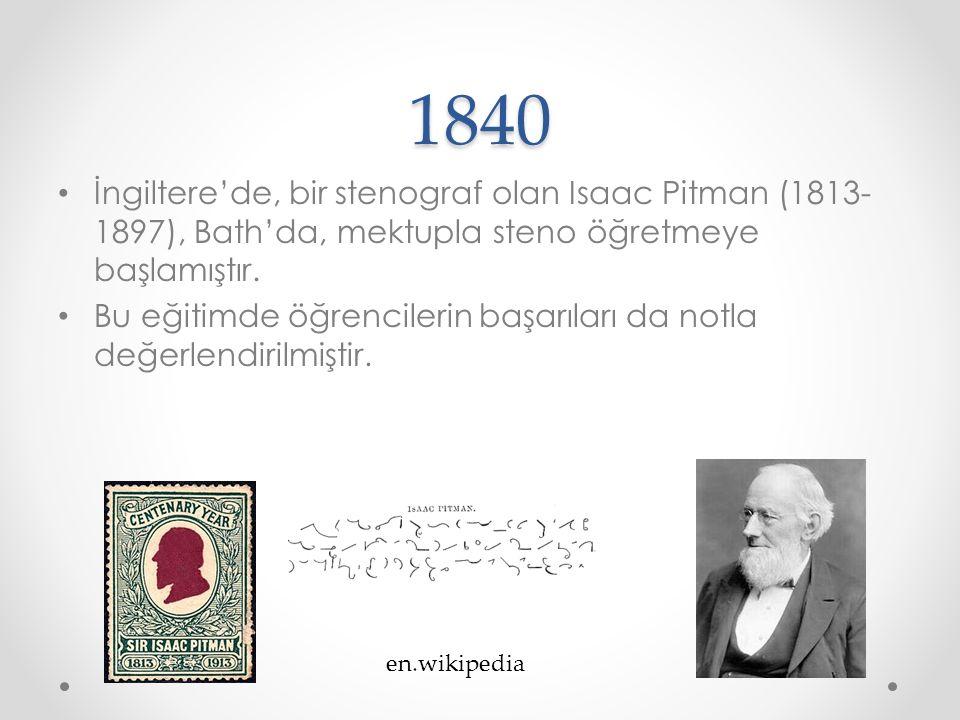 1840 İngiltere'de, bir stenograf olan Isaac Pitman (1813-1897), Bath'da, mektupla steno öğretmeye başlamıştır.